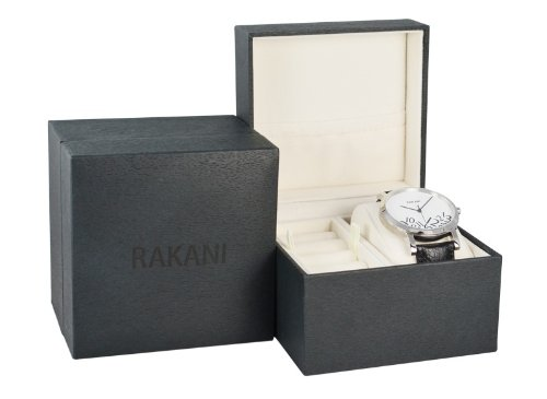Rakani +5 32mm Black Watch with Red Leather Band