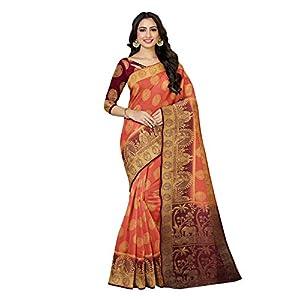 MIMOSA Women's Kanchipuram Art Silk Saree With Un-stitched Blouse (4925-372-2D-PC-MJ_Peach)