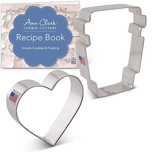 Giant Heart Cookie Recipe - Ann Clark Cookie Cutters 2-Piece Love You a Latte Cookie Cutter Set with Recipe Booklet, Latte Cup and Heart
