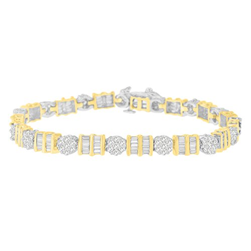 Baguette Diamond Tennis Bracelet - 14K Two-Toned Gold Round and Baguette-Cut Diamond Tennis Bracelet (3.35 cttw, H-I Color, I1-I2 Clarity)