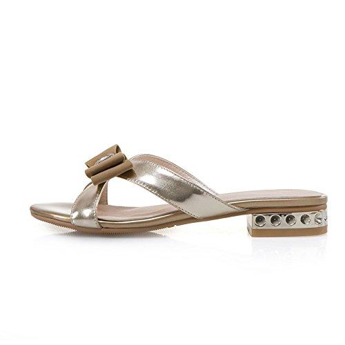 Resbalón Mujer Gold1 Plano Zapatos Sandalias En Dedo Comodidad Mocasín Diamante Verano Mirar De Pie Furtivamente Imitación Del 4OarP41qxw
