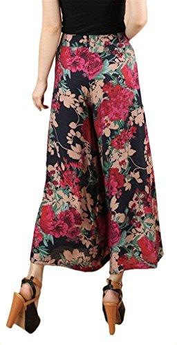 Eleganti Moda Baggy Vita Estivi Stampato Pantalone Stampate Cute Pantaloni Chiffon Elastica Pantaloni Chic Libero Pantaloni Mare Tempo Larghi Color1 Giovane Donna qzwB8x