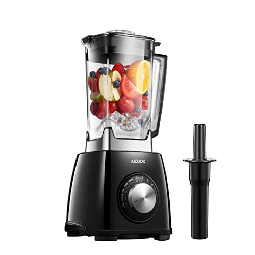 Smoothie Blender with 6-Fin Titanized Blades, Aicook, for Vegetable and Juice, 1450W High Speed Blender, Milkshakes and Protein Shakes