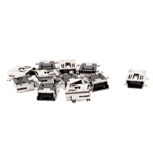 uxcell Replacement Mini USB Type B Female 5 Pin PCB Board Mount Jack Charger Connector 10 Pcs (10 Pin Mini Usb Female Socket Connector)