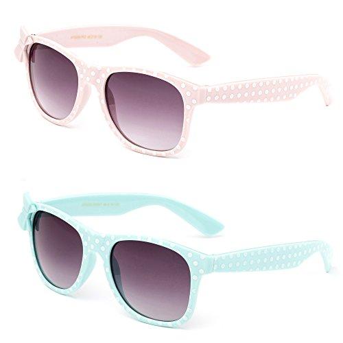 Newbee Fashion - Kids Polka Dot Cute Bow Fashion Sunglasses for Kids Lead - Disney Sunglasses