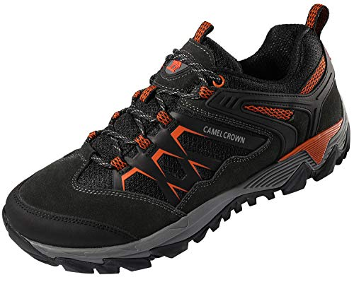 (CAMEL CROWN Men's Hiking Shoes, Lightweight Non-Slip Sneakers Breathable Low Top Camping Shoes for Hiking, Trekking, Traveling, Walking, Outdoors Dark Gray)