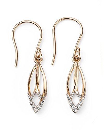 Jewellery World Bague en or jaune 9carats Diamant Boucles d'oreille LOTUS