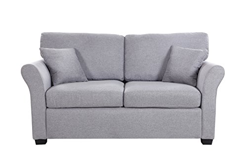 Classic And Traditional Ultra Comfortable Linen Fabric Loveseat Living Room Fabric Couch