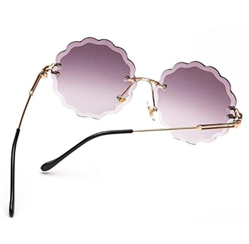 con QQBL Metálica Marco Gafas Sin Corte Gray Color Oceánico Brown UV400 De De Montura Flores con Sol De 7nZ7wprxq