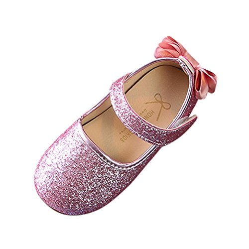 Sunbona Children Baby Girls Bowknot Sequins Dance Ballet Flats Spring Princess Mary Jane Slip on Ballerina Loafer Shoes (5M US Toddler, Pink)