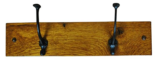 (Wood Coat Hanger Wall Mounted, Mission, 2 Hook, Oak Wood, Contact Us With Your Stain or Paint Choice, Custom Available )