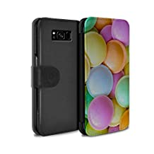 STUFF4 PU Leather Wallet Flip Case/Cover for Samsung Galaxy S8 Plus/G955 / Flying Saucers Design / Confectionery Collection