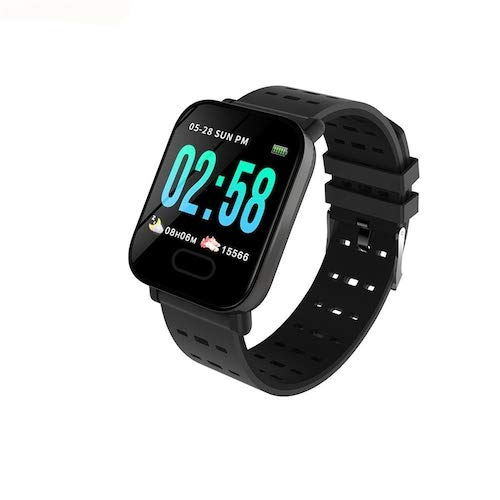 Raptas [Festival Special: ONE Day Sale] A6 Waterproof Touchscreen Smart Watch Heart Rate Monitor Bracelet Wristband for Android iOS,Dial Shape : Square, Strap Material : Silicone, Size : Free Size