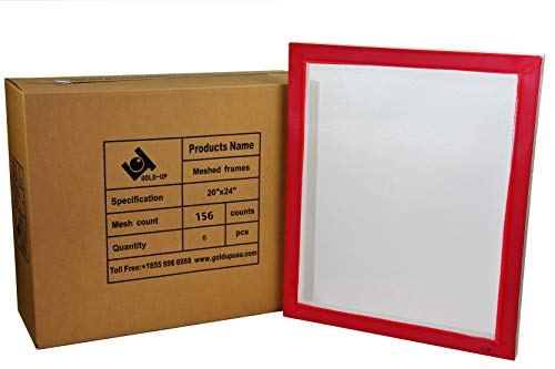 20 x 24 Inch Pre-Stretched Aluminum Silk Screen Printing Frames with 156 White Mesh (6 Pack Screens)