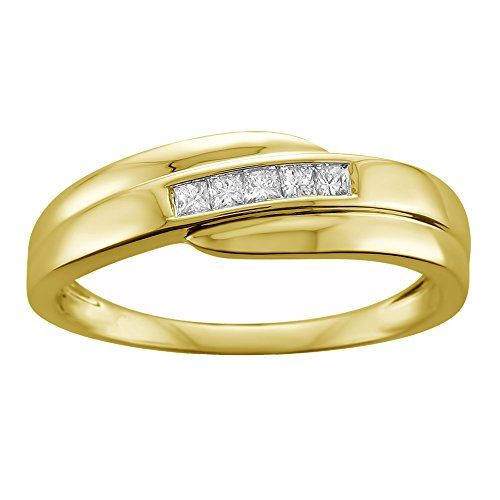 La4ve Diamonds 14k Yellow Gold Princess-Cut Diamond Men's Wedding Band Ring (1/4 cttw, H-I, I1-I2), Size 8 (Diamond Princess Cut Mens Ring)
