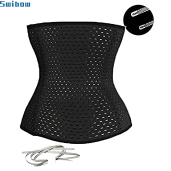 Womens Breathable Latex Waist Trainer Corset for Weight Loss Steel Boned Tummy Control Body Shaper with Adjustable Hooks