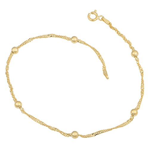 Yellow Gold Over Sterling Silver 1.5mm Singapore Bead Station Anklet (10 inch) (Gold Bracelet Yellow Ankle)