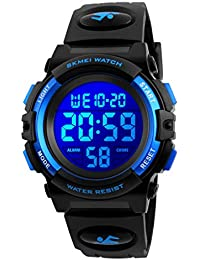 Kids Watches Digital Outdoor Sport Waterproof Electrical EL-Lights Watches with Alarm Luminous Stopwatch Casual Military Child Wrist Watch Gift for Boys Girls