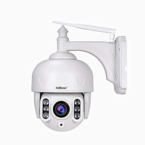 Sricam SH028 WiFi IP Camera Outdoor IP66 Weatherproof Wireless PTZ Security Camera HD 1080P Pan Tilt Zoom 5X Optical 100ft Night Vision Two-Way Audio Quick Motion Detection & Alerts