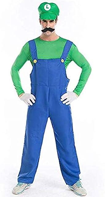 MOODECOR Disfraz de Luigi de Super Mario Brothers, Disfraz Adulto ...
