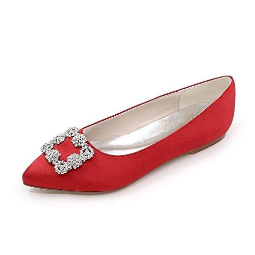 Colore 37 di Rosso Duoai Moda Alla Partito Piatto Solido Scarpe Temperamento di di Scarpe Seta Banchetto Donna Calzature Nozze Raso Donna xIwW0BwRqf