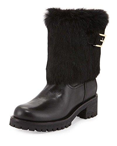 Tory Burch Joni Fur Cuff Moto Boot Alsina Leather Size 10 - Burch Tori And