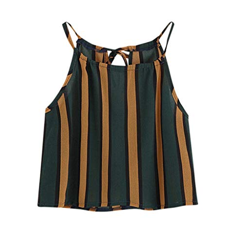Women's Sexy O Neck Sleeveless Strap Striped Small Vest Loose Casual Short Joker Top T-Shirt Green ()