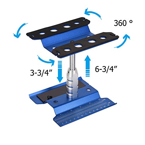 Xpurc New Upgraded Rc Car Stand Repair Workstation Aluminum Alloy 360 Degree Rotation Lift or Lower for 1/10 1/12 1/8 Scale Truck Crawler Buggy(Blue, Gen ()