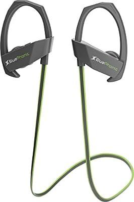Bluephonic Sports Bluetooth Wireless Headphones, Audio Beat HD Sound, Perfect Running & Workout Secure Fit In Ear Earbuds, Sweatproof Waterproof IPX7 Earphones, Noise Cancelling w/Mic & Case,Green