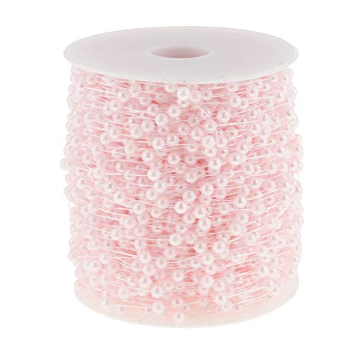 1 Roll 4mm Pearl Beaded Strands Garland Wedding Party Event Home Decor 60m |Color - Pink|