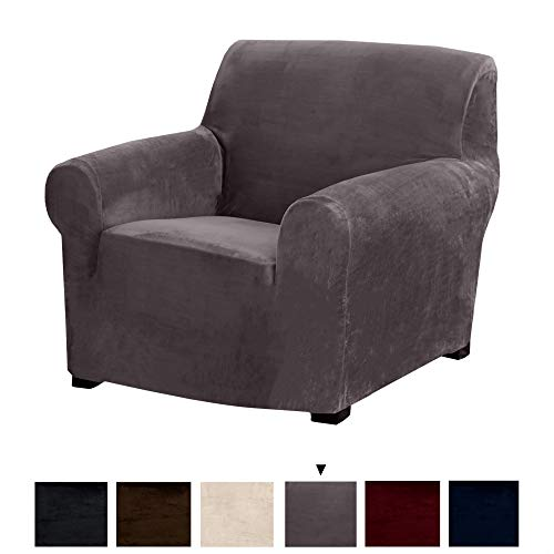 Original Velvet Plush Stretch Arm Chair Slipcover. Strapless Chair Cover, Furniture Protector for Arm Chairs, Soft Anti-Slip, High Stretch (Chair, Wild Dove Grey) (And Grey Chair Sofa)