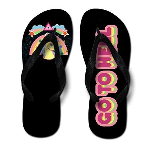 GoToHellCuteUnicornPrintedUnisexFlipFlops,Medium