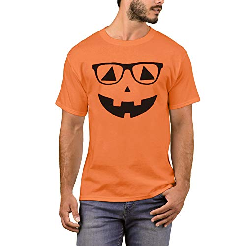Arvilhill Halloween Costume Men Pumpkin Face T Shirts Orange Funny Party Short Sleeve Tops S ()