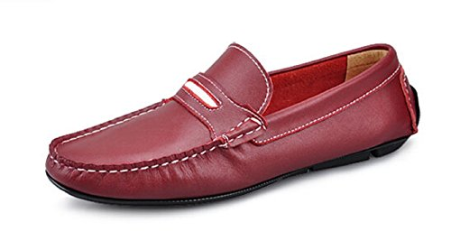 Happyshop(TM) Mens Leather Slip on Penny Loafers Strap Shoes Causal Moccasin Car Shoes Red pRXYu2cLx