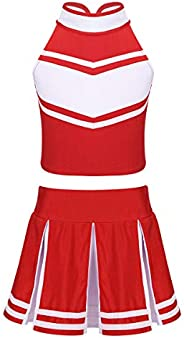 LiiYii Big Girls Sports Meeting Cheerleading Uniform Pleated Skirt with Tank Tops Soccer Baby Stage Performanc