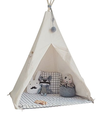 HAN-MM Kid's Foldable Teepee Play Tent, One Four Ploes Style, White - Games You Can Play Alone