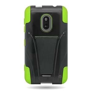 Kickstand Hard + Soft Dual Layer Hybrid Case for NOKIA 620 LUMIA - BLACK Hard NEON GREEN Soft Silicone...