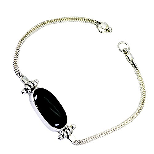 Genuine Balck Onyx Charming Silver Bracelet For Women Gemstone Astrological Jewelry Handmade For - Charming Onyx