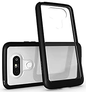 LG G5 Case - Diztronic Voyeur Series - Matte Black & Crystal Clear Case - Soft Touch Flexible TPU Phone Bumper Frame & Hard Polycarbonate PC Back Cover Window with Anti-Scratch Coating