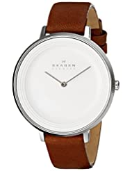 Skagen Women's SKW2214 Ditte Stainless Steel Watch with Brown Leather Band