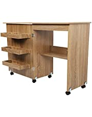 Sewing Table, Folding Sewing Desk, Wood Sewing Craft Cart, with Lockable Casters, Adjustable Shelf, Save Space 23.6 X 15.7 X 30.7in