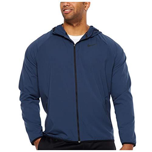 NIKE Men's Flex Stretch Lightweight Full Zip Hooded Windbreaker Jacket Dri-Fit, (4XL, Thunder Blue)