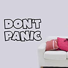 Don't Panic Hitchhikers Guide Galaxy Removable Wall Sticker Art Home Office Room Mural Decor Vehicle Car Truck Window Bumper Graphic Decal- (8 inch) / (20 cm) Wide MATTE BLACK Color
