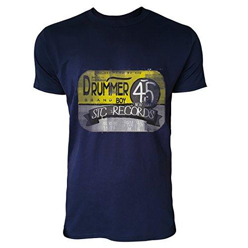 SINUS ART® Drummer 45 Herren T-Shirts in Navy Blau Fun Shirt mit tollen Aufdruck