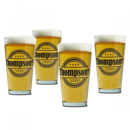 (Tavern Pint Glass Custom Printed Ink, 16 oz beer glasses, Set of 4)