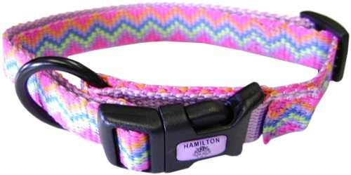 Hamilton 1-Inch Adjustable Dog Collar, Large, Fits 18-Inch by 26-Inch, Weave Pattern with Lavender