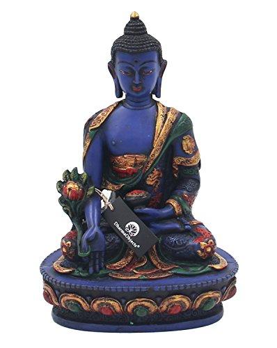 DharmaObjects Tibetan Healing Medicine Buddha Statue Hand Painted Nepal (7.5, Multi) (Buddha Hand Statue)