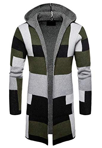 Domple Men Long Sleeve Color Block Knit Slim Open Front Long Cardigan Sweaters Green M by Domple (Image #2)