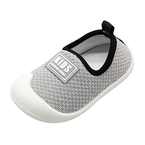 (CCFAMILY Children Toddler Kids Baby Girls Boys Letter Mesh Sport Sneakers Run Shoes Grey)