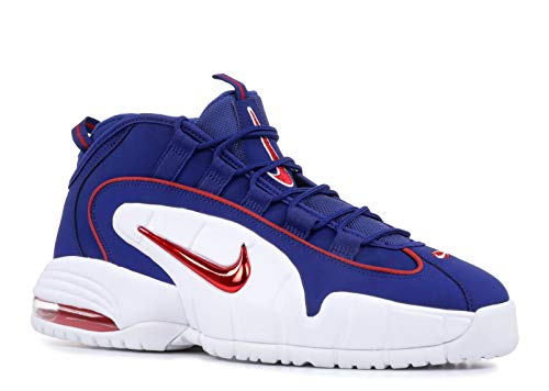 NIKE Men's Air Max Penny Red and Blue Leather Sneaker 41(EU)-8(US) Multicolour